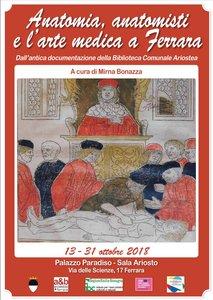 "Locandina Mostra ""Anatomia e anatomisti"", Ferrara 13-31 ottobre 2018"