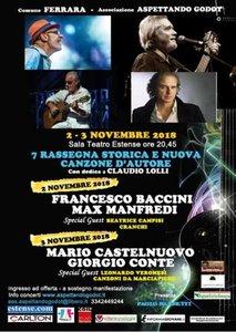 """Locandina rassegna """"Storica e nuova canzone d'autore"""" - Ferrara, 2 e 3 novembre 2018"""
